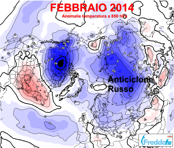 Mappa anomalie termiche a 850 hPa.