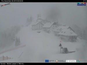 Monte Lussari (Friuli) è sotto la tormenta. Fonte digitalwebland.com.