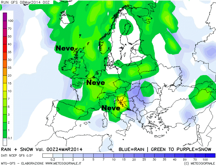 GFS, mappa neve e pioggia.