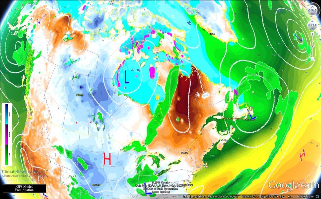 08 giu 14 nord america - Pesanti nevicate sul Canada centro settentrionale
