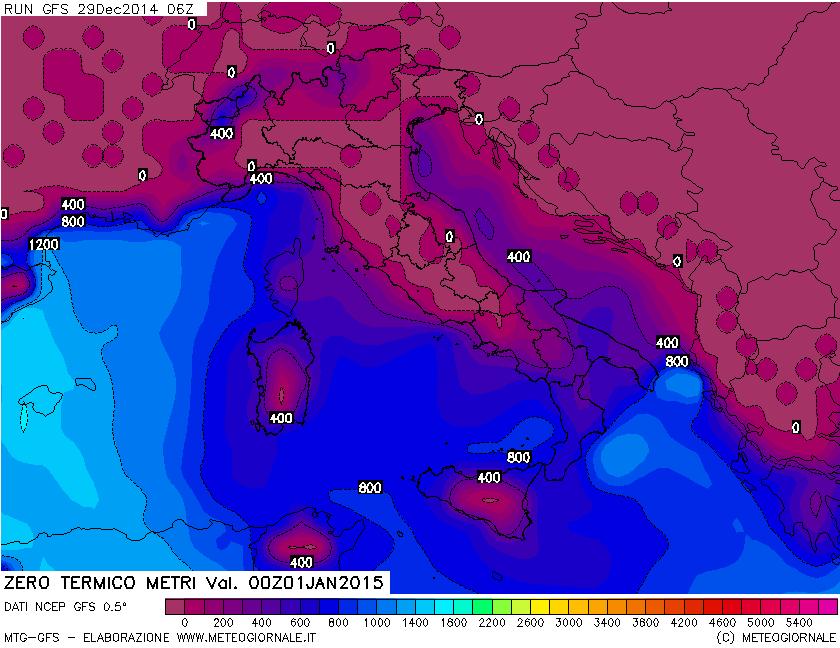 Mappa dello Zero Termico in libera atmosfera. Elaborazione di GFS (Global Model)