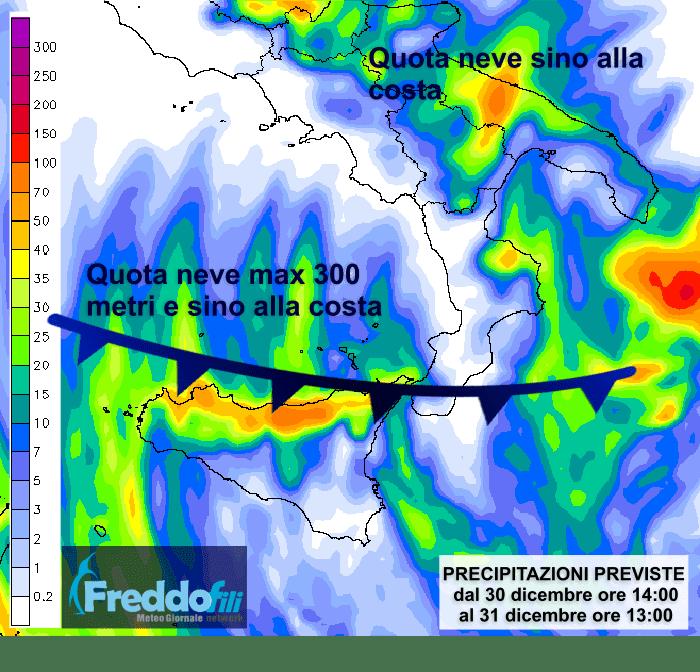 La mappa qui sotto indica le zone dove sono attese nevicate e precipitazioni nelle prossime 24 ore.
