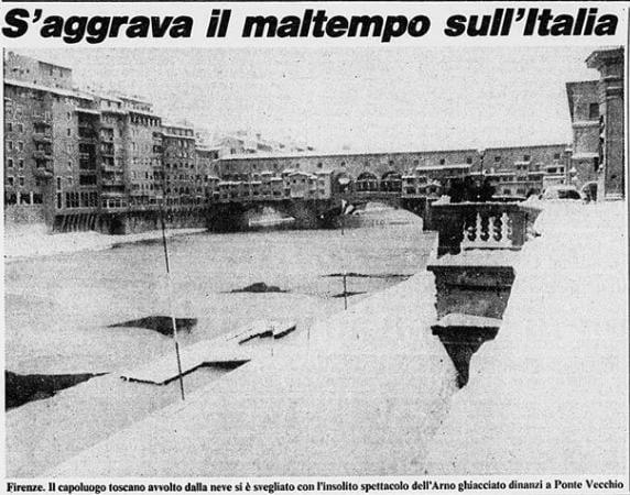 09.01.1985 Neve Firenze - Arno ghiacciato. Quando il freddo fu così terribile da gelare i fiumi italiani