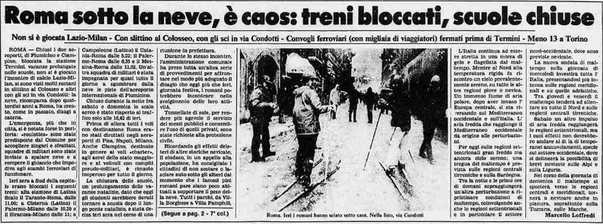 15zl89f - Foto storica nevicata Gennaio 1985 su Roma