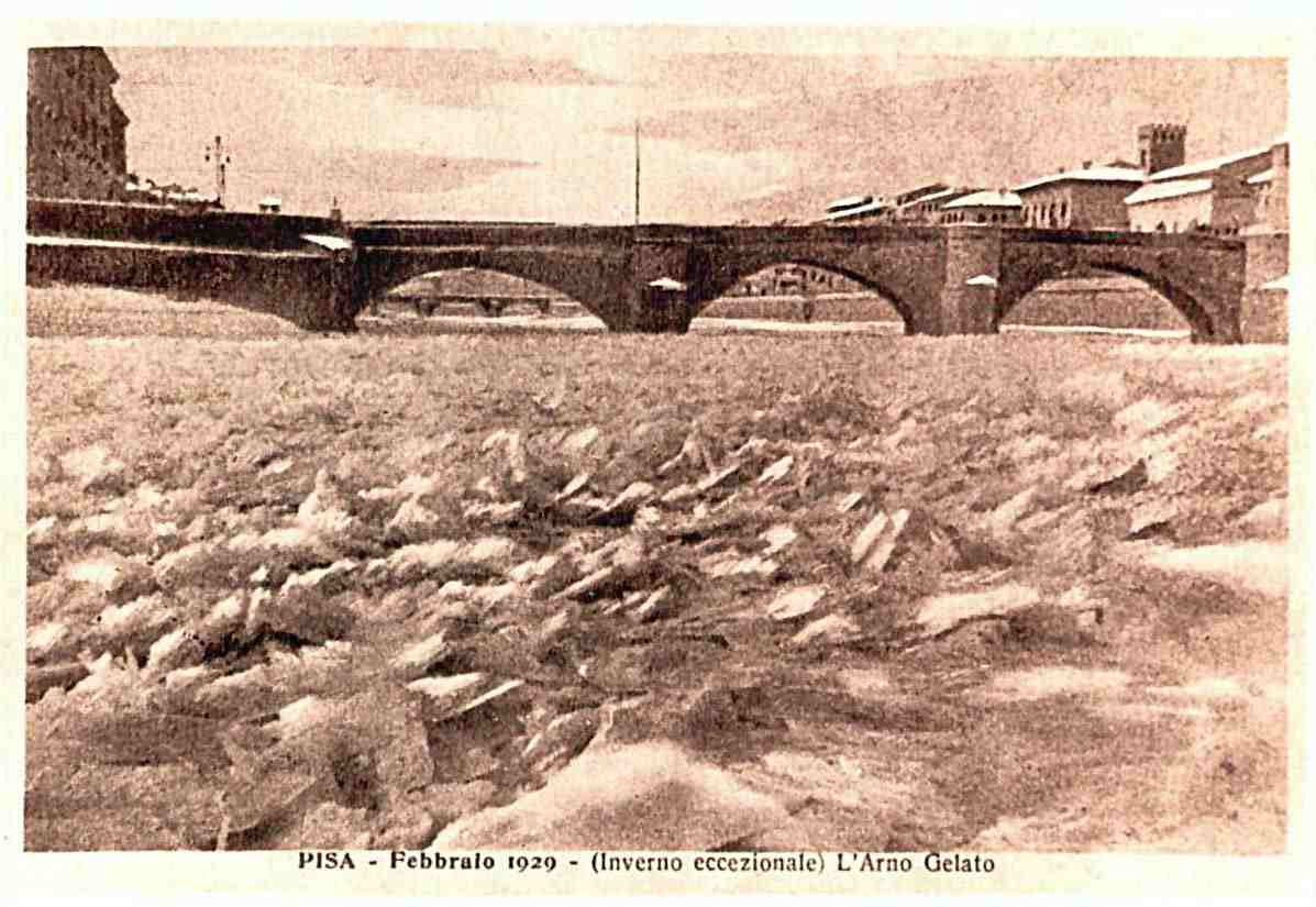 L'Arno gelato nel 1929.