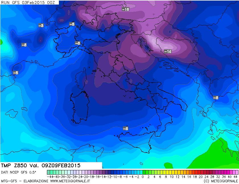Temperatura prevista all'altezza di 850 hPa. Le isoterme previste, se confermate, causerebbero gelo specie al Centro Italia, con temperatura massima di lunedì 9 anche inferiore a 0°C.