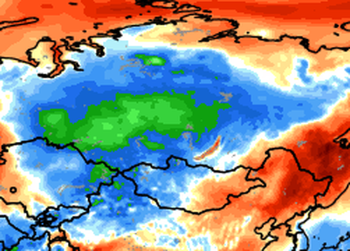 23 set 15 ncep cfsv2 28 t2anom globe - Nevicate da record in Siberia, altezze mai viste nel mese di Settembre!