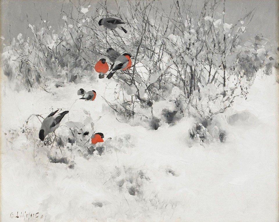 Bruno Liljefors Scena invernale con ciuffolotti 1891 - La giornata gelida del 20 Gennaio 1963: