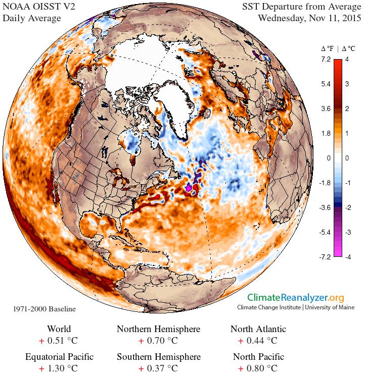 GFS 025deg NH SAT1 SST anom - Imponente ondata fredda sulla Siberia, evento precoce per il mese di Ottobre