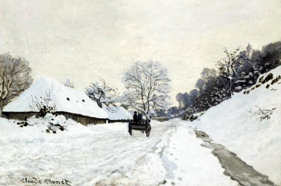 Monet Il calesse strada coperta di neve a Honfleur 1867 - La giornata gelida del 20 Gennaio 1963:
