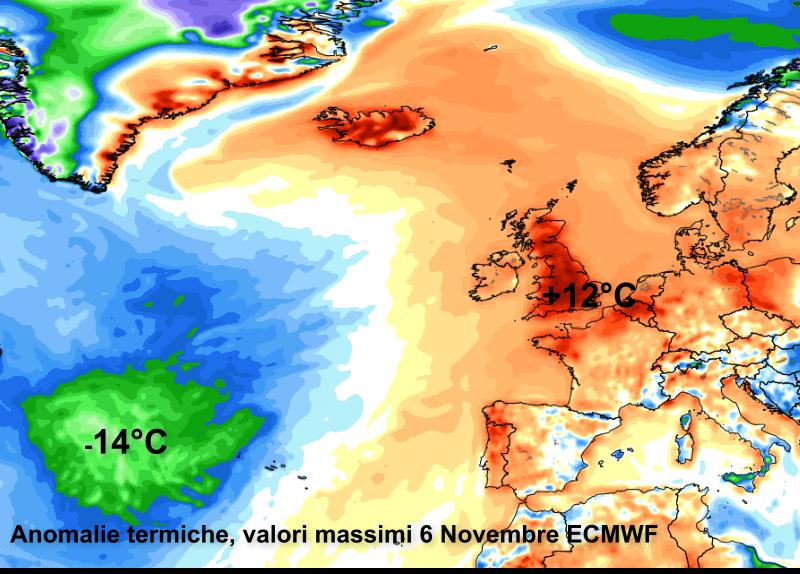 Proiezione anomalie termiche delle temperature massime per il 6 Novembre, fonte ECMWF.