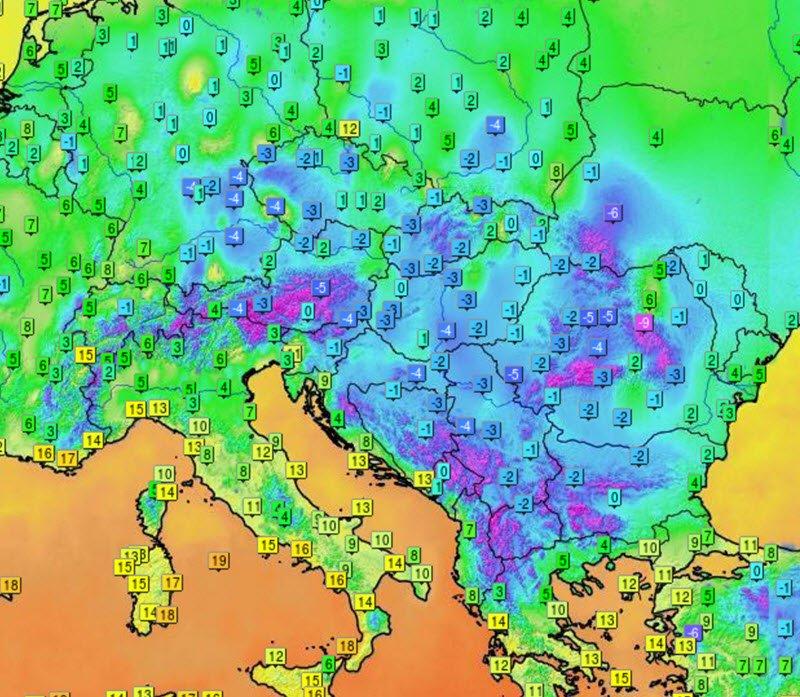 Visione termica nel suo insieme. In azzurro temperature inferiori o prossime a 0°C. Credits infoclimat.fr.