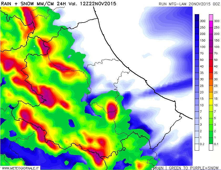snow24h 604 - Mappe neve altissima risoluzione con focus Abruzzo