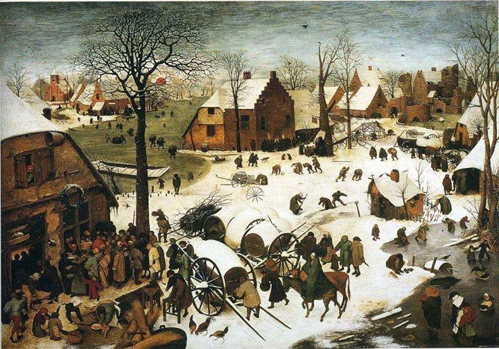 Pieter Brueghel il Vecchio Il Censimento a Betlemme 1566 - Russia Orientale: il grafico delle temperature degli ultimi 5 secoli, mostra altri periodi più caldi dell'attuale!