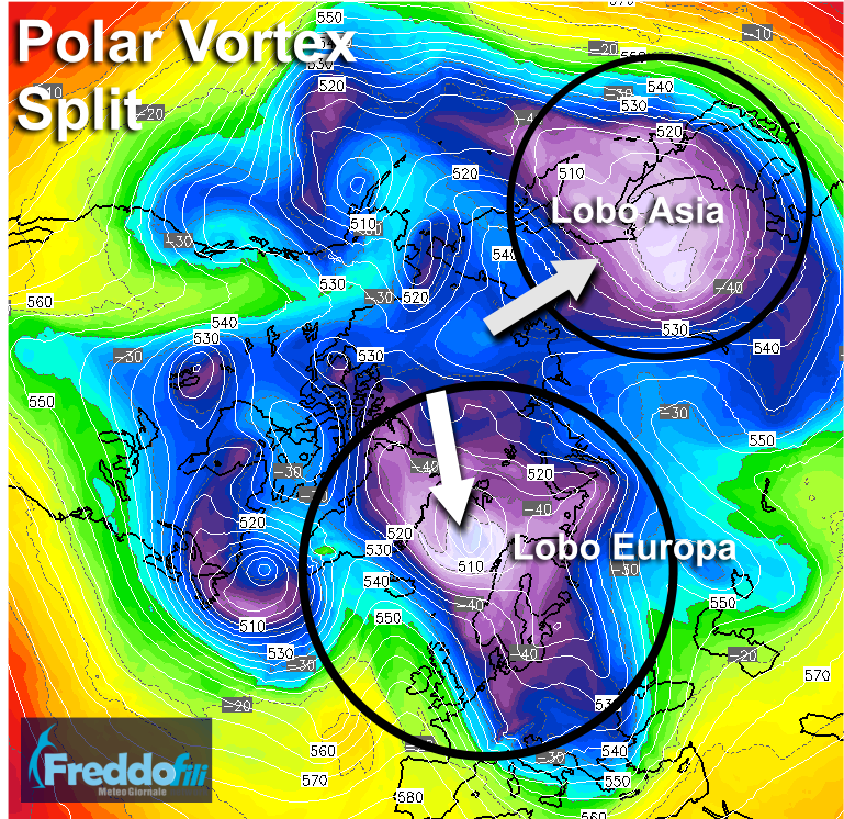 Polar Vortex split