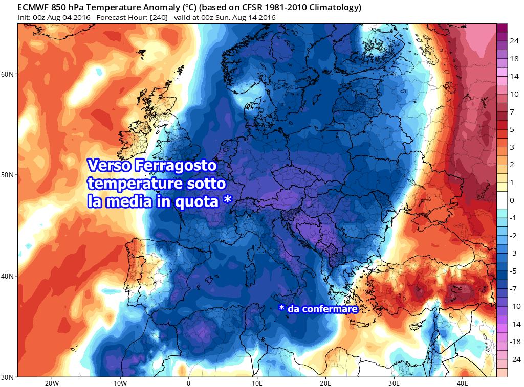 Previsione alla quota di 850 hPa relativo alle anomalie, a cura del modello matematico europeo ECMWF.