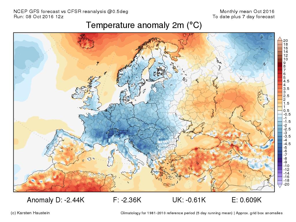 08 ot 16 ANOM2m fcstMTH europe - Comincia l'attacco dell'aria fredda al nostro Continente!