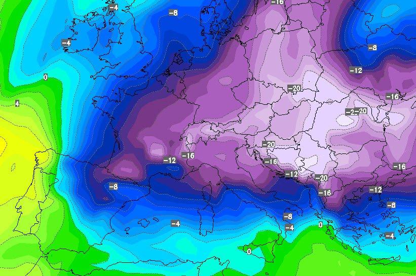 Una delle proiezione apparse oggi dal modello GFS per dopo il 10 Gennaio. Carta della temperatura prevista alla quota di 850 hPa.