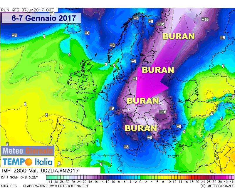 Mappa che mostra l'attuale situazione a 850 hPa. E' una carta storica, non succede spesso che aria dalla Siberia trabocchi dai Balcani e investa il Sud Italia con tale irruenza