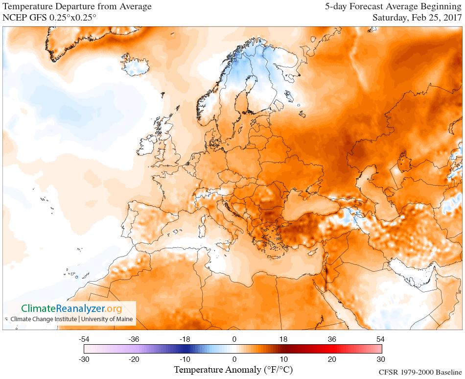 GFS 025deg EURO LC T2 anom 5 day - Washington DC: Il mese di maggio più freddo e piovoso di sempre!