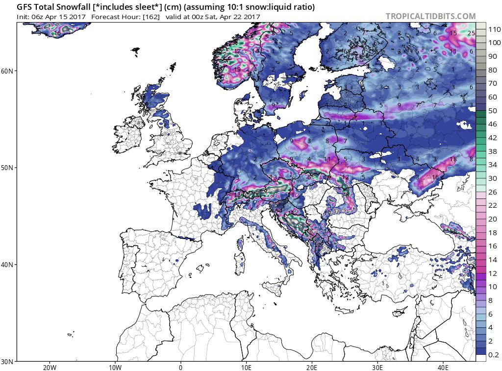 gfs asnow eu 28 - Freddo imponente verso l'Europa, anomalie come avvenne a Gennaio